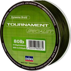 Леска Daiwa Tournament Specialist 300-80Леска плетеная<br>Зеленая плетеная леска Tournament Specialist отличается <br>высокой износостойкостью и позволяет увидеть <br>поклевку по движению шнура.<br>