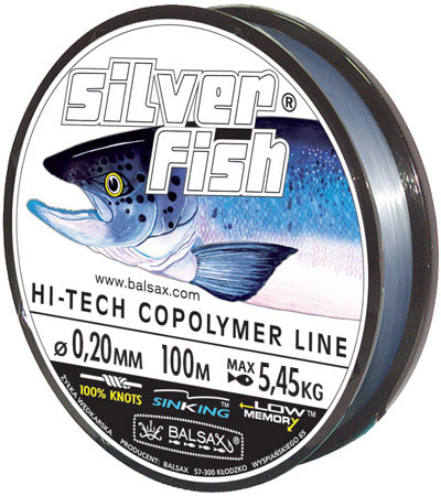 Леска BALSAX Silver Fish 100м 0,20 (5,45кг)Леска монофильная<br>Леска Silver Fish - предназначена прежде всего <br>для крупных, сильных рыб, поскольку у этой <br>лески отличная прочность на узле, а также <br>лучшее сочетание механической прочности <br>и контролируемой растяжимости. Она спроектирована <br>для получения максимальной прочности в <br>местах вязки узлов, сопротивления к истиранию <br>и низкого уровня деформации.<br><br>Сезон: лето