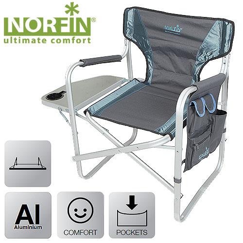 Кресло Складное Norfin Risor Nfl АлюминиевоеСтулья, кресла<br>Складное кресло - прекрасный выбор для <br>ценящих комфорт рыбаков. Алюминиевый каркас, <br>откидной столик, боковой карман для телефона <br>и мелочей, смягченное сиденье и спинка. <br>Конструкция ножек кресла препятствует <br>его проваливанию в песок или грунт. Особенности: <br>- габариты 47x42x43/80 см; - размер в сложенном <br>виде 82x53x10 см; - максимальная нагрузка 100 <br>кг; - каркас алюминий 30х16 мм.<br><br>Сезон: лето<br>Цвет: синий<br>Материал: 600D polyester