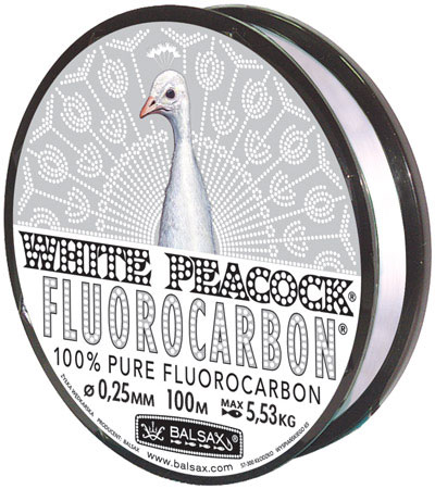 Леска BALSAX White Peacock Fluorocarbon 100м 0,25 (5,53кг)Леска монофильная флюорокарбоновая<br>Леска White Peacock Fluorocarbon - абсолютна невидима <br>в воде, тонет очень быстро, не теряет прочности, <br>высокая сопротивляемость.<br><br>Сезон: лето