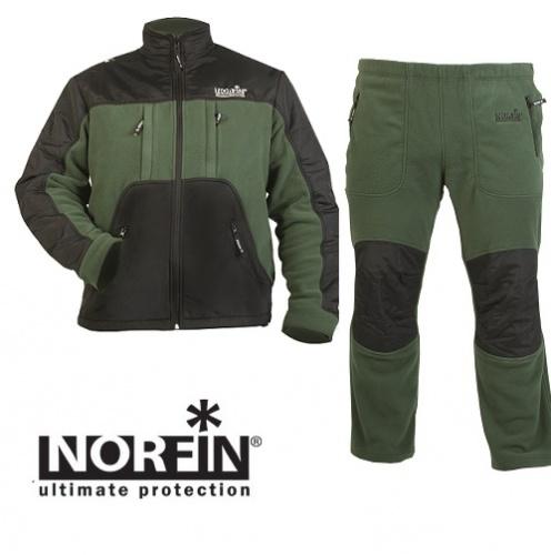 Костюм Флисовый Norfin Polar Line 2 (M, 337002-M)Костюмы флисовые<br>Костюм флис. Norfin POLAR LINE 2 01 р.S разм.S/курт.,штаны/мат.NORfleece <br>Thermo полиэстер100% Мягкий, прочный флисовый <br>костюм. Куртка с высоким воротником и молнией, <br>имеет два теплых боковых кармана для согрева <br>рук, в нижней части куртки имеется регулировка-стяжка <br>с фиксаторами для дополнительной защиты <br>от ветра и холода. Брюки имеют эластичный <br>пояс и два кармана на молнии. Идеально подходит <br>для отдыха на природе. КУРТКА • Усиление <br>материалом на плечах, локтях и карманах <br>• Внутренняя сетчатая вентиляционная подкладка <br>• Четыре внешних кармана с молниями • Передняя <br>застежка-молния • Фиксатор, стягивающий <br>низ куртки ШТАНЫ • Фиксатор, стягивающий <br>талию • Эластичный пояс • Боковые карманы <br>на молнии • Колени – объемный крой • Усиление <br>материалом в области колен • Фиксатор, <br>стягивающий низ брючины Материал: NORfleece <br>Thermo (100% полиэстер )<br><br>Пол: мужской<br>Размер: M<br>Сезон: демисезонный<br>Цвет: зеленый