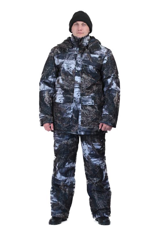 Костюм мужской Вепрь зимний кмф алова Костюмы утепленные<br>Камуфлированный универсальный костюм <br>для охоты, рыбалки и активного отдыха при <br>низких температурах. Состоит из удлиненной <br>куртки и полукомбинезона. Куртка: • Центральная <br>застежка на молнии с ветрозащитной планкой <br>на кнопках. • Отстегивающийся и регулируемый <br>капюшон. • Регулируемая кулиса по линии <br>талии. • Нижние и верхние многофункциональные <br>накладные карманы с клапанами на контактной <br>ленте и на молнии. • Усиление в области <br>локтей. • Трикотажные манжеты по низу рукавов. <br>Полукомбинезон: • Высокая грудка и спинка. <br>• Центральная застежка на молнию. • Талия <br>регулируется эластичной лентой. • Регулируемые <br>бретели, • Верхние боковые карманы<br><br>Пол: мужской<br>Размер: 48-50<br>Рост: 170-176<br>Сезон: зима<br>Цвет: серый<br>Материал: Алова 100% полиэстер