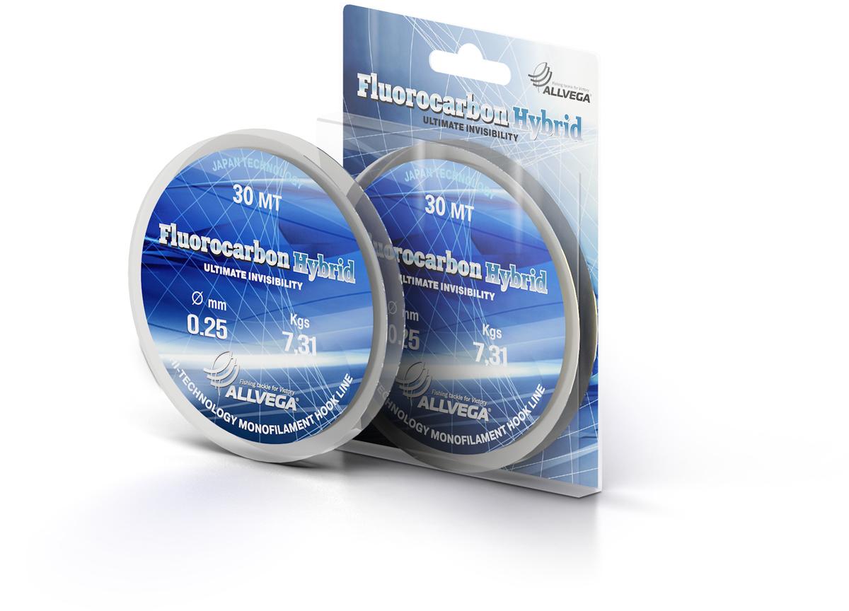 Леска ALLVEGA FLUOROCARBON Hybrid 0.25мм (30м) (7,31кг)Леска монофильная флюорокарбоновая<br>Прозрачная леска, состоящая из 65 % флюрокарбона. <br>Флюрокарбоновое покрытие позволяет максимально <br>повысить характеристики, при этом цена <br>лески остается относительно низкой.<br><br>Сезон: лето