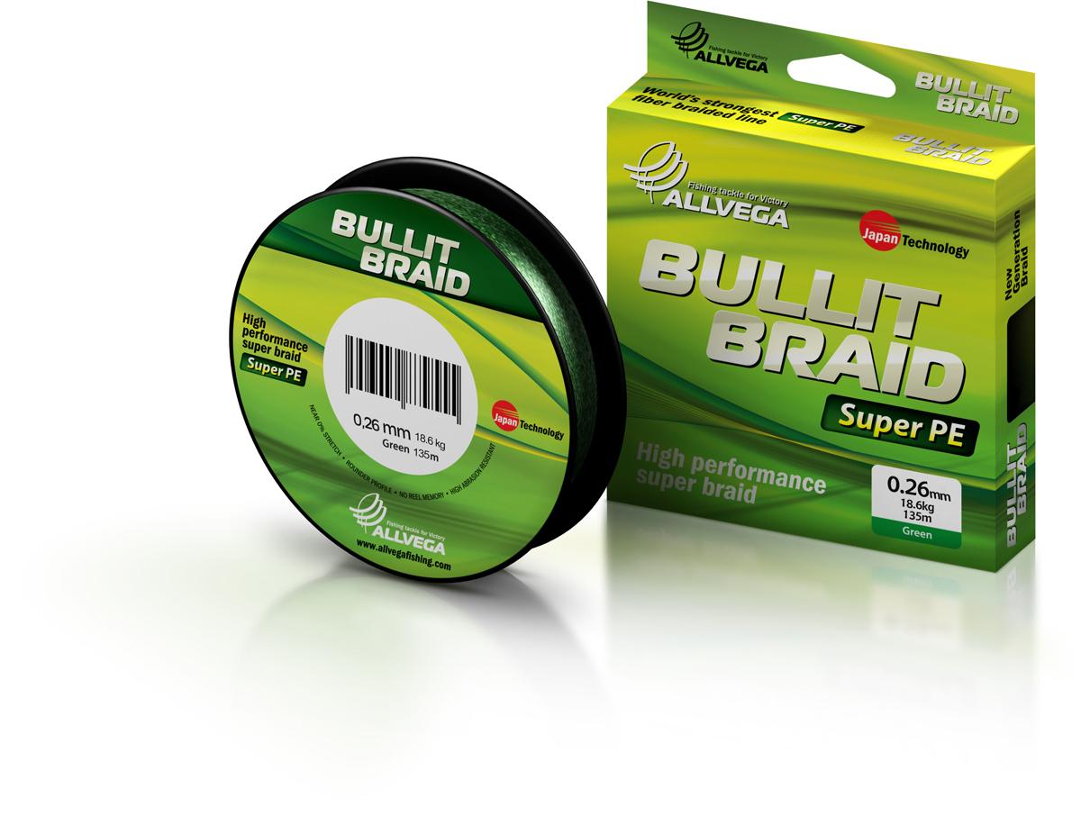 Леска плетеная ALLVEGA Bullit Braid 135м 0,26мм 18,6кг Леска плетеная<br>Леска BULLIT BRAID разработана с учетом новейших <br>японских технологий в сфере строения волокон. <br>Благодаря микроволокнам полиэтилена (Super <br>PE) леска имеет очень плотное плетение, не <br>впитывает воду, имеет гладкую круглую поверхность <br>и одинаковое сечение по всей длине.<br>