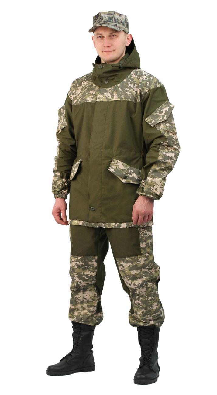 Костюм мужской Горка 3 летний палатка Костюмы неутепленные<br>Куртка: • свободного кроя; • застёжка центральная <br>супатная, на петлю и пуговицу; • кокетка, <br>накладки и карманы из отделочной ткани; <br>• 2 нижних прорезных кармана с клапаном, <br>на петлю и пуговицу ; • внутренний отлетной <br>карман на пуговицу; • на рукавах по 1 накладному <br>наклонному карману с клапаном на петлю <br>и пуговицу • в области локтя усиливающие <br>фигурные накладки; • низ рукавов на резинке; <br>• капюшон двойной, с козырьком, имеет утягивающую <br>кулису для регулировки по объему ; • подгонка <br>по талии с помощью кулиски; Брюки: • свободного <br>покроя; • гульфик с застёжкой на петлю и <br>пуговицу; • 2 верхних кармана в боковых <br>швах, • в области коленей, на задних половинках <br>брюк в области сидения – усиливающие накладки; <br>• 2 боковых накладных кармана с клапаном; <br>• 2 задних накладных фигурных кармана на <br>пуговицах; • крой деталей в области коленей <br>препятствует их вытягиванию; • Пылезащитная <br>юбка из бязи по низу брюк; • задние половинки <br>под коленом собраны резинкой; • пояс на <br>резинке; • низ на резинке;<br><br>Пол: мужской<br>Размер: 52-54<br>Рост: 182-188<br>Сезон: лето<br>Цвет: оливковый<br>Материал: «Палаточное полотно» (100% хлопок), пл. 270