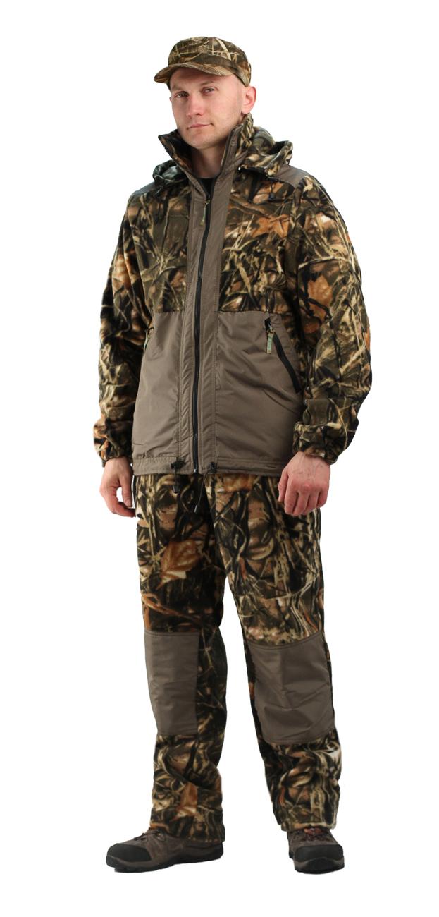 Флисовый костюм Панда кмф Тростник с Костюмы флисовые<br>Куртка мужская прямого силуэта из флиса <br>в комбинации с плащевой тканью. Длина изделия <br>до линии бедер. Полочка с центральной открытой <br>застежкой на тесьму-молнию, горизонтальным <br>членением и настрочной усиливающей кокеткой <br>на верхней части. Нижняя часть полочки с <br>настрочным усиливающим карманом. Вход в <br>карман обработан на тесьму-молнию. Спинка <br>со средним швом и усиливающей настрочной <br>кокеткой. Рукав втачной одношовный, с усиливающей <br>фигурной накладкой в области локтя. В низ <br>рукава вставлена тканево-резиновая тесьма. <br>По верхнему краю воротника-стойки и низу <br>изделия настрочена утягивающая кулиса. <br>Брюки свободного покроя с карманами в боковых <br>швах. Верхний срез брюк с цельновыкроенным <br>поясом, в пояс вставлена тканево-резиновая <br>тесьма, простроченная посередине. Наколенники <br>из отделочной ткани.<br><br>Пол: мужской<br>Размер: 44-46<br>Рост: 182-188<br>Сезон: лето<br>Цвет: коричневый<br>Материал: Флис, пл.350г/м2, антипилинговый