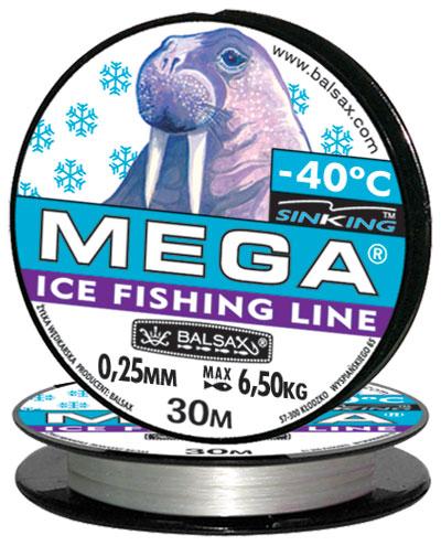 Леска BALSAX Mega 30м 0,25 (6,5кг)Леска монофильная<br>Леска Mega - создана специально для зимней <br>ловли. Очень хорошо выдерживает низкую <br>температуру. Поверхность обработана таким <br>образом, что она не обмерзает как стандартные <br>лески. Отлично подходит для подледного <br>лова. Даже в самом холодном климате, при <br>температуре до -40, она сохраняет свои свойства.<br><br>Сезон: зима