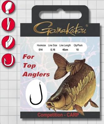 Крючок GAMAKATSU BKS-3310B Carp 40см Comp №14 d поводка Одноподдевные<br>Оснащенный поводок для ловли карпа в условиях <br>соревнований, длинной 40 см и диаметром сечения <br>0,16<br>