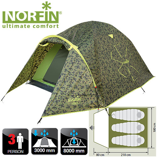 Палатка 3-Х Местная Norfin Ziege 3 NcПалатки<br>Универсальная двуслойная палатка с просторным <br>тамбуром. Классическая устойчивая конструкция. <br>Наличие третьей дуги над входом образует <br>крышу, которая препятствует попаданию дождя <br>внутрь даже при открытой двери тамбура. <br>Все швы палатки герметизированы. Особенности: <br>- вход один; - противомоскитная сетка на <br>входе; - большое количество карманов для <br>мелочей; - крючок для подвески фонаря; - петли <br>для фиксации скатанного входа. Характеристики: <br>- размер наружной палатки (80+210)x180x130 см; - <br>размер внутренней палатки 210x175x120 см; - размер <br>в сложенном виде 63х16х16 см; - материал внутренней <br>палатки190T breathable polyester; - материал дна/ влагостойкость <br>(мм H2O) PE 120g/m2 / 8000; - материал каркаса FG; - количество <br>дуг(стоек)/диаметр (мм) 3/8,5mm; - материал колышек: <br>сталь.<br><br>Сезон: лето<br>Цвет: зеленый