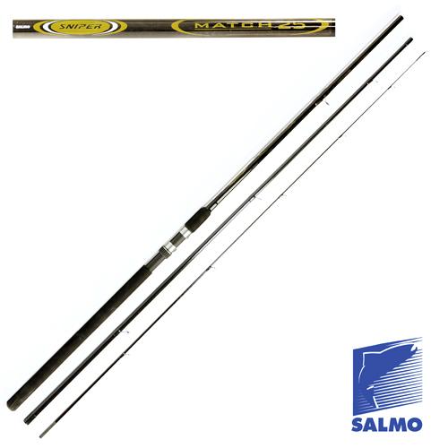 Удилище Матчевое Salmo Sniper Match 3.90Удилища матчевые<br>Удилище матч. Salmo Sniper MATCH 25 3.90 дл.3.90м/тест <br>5-25г/строй M/317г/3ч./дл.тр.135см Серия недорогих, <br>среднего строя, матчевых удилищ. Композит, <br>основная часть которого состоит из графита <br>IM6, позволил изготовить достаточно легкий <br>и прочный бланк, обеспечивающий сбалансированность, <br>хорошую дальнобойность и точность при забросах. <br>Большое количество колец на высоких ножках <br>со вставками SIC, позволяет хорошо работать <br>с оснастками до 25 граммов и в дождливую <br>погоду. • Материал бланка удилища – композит <br>• Строй бланка средний • Конструкция штекерная <br>• Соединение колен типа OVER STEEK Кольца пропускные: <br>– на высоких ножках – со вставками SIC • <br>Рукоятка неопреновая • Катушкодержатель <br>винтового типа<br><br>Сезон: лето