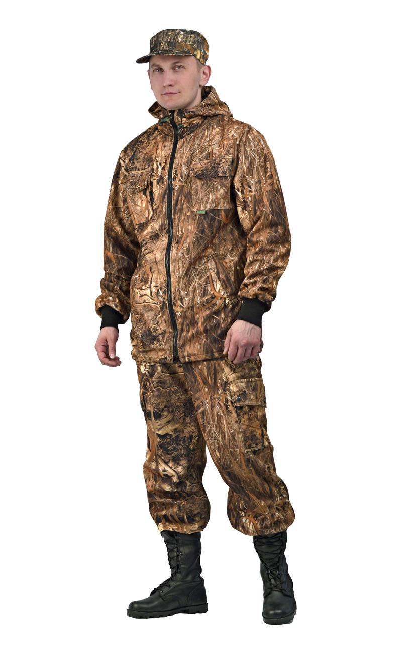 Костюм мужской Тройка демисезонный кмф Костюмы утепленные<br>Костюм состоит из куртки, брюк и жилета <br>Жилет утепленный: * воротник стойка * центральная <br>застежка на молнию * нагрудные объемные <br>накладные карманы с застежкой липучку * <br>нижние многофункциональные накладные объемные <br>карманы на молнии и липучке * внутренний <br>карман для документов Куртка с капюшоном <br>на подкладке из сетки: * центральная застежка <br>молнию * притачной капюшон с регулировкой <br>объема по лицевому вырезу * низ куртки регулируется <br>по объему эластичным шнуром * рукава с трикотажными <br>манжетами * нагрудные накладные объемные <br>карманы с клапанами на липучке * нижние <br>прорезные карманы с листочкой Брюки на <br>подкладке из сетки: * пояс с эластичной лентой <br>со шлевками под широкий ремень * защипы <br>в области коленей обеспечивают свободу <br>движения * боковые накладные объемные карманы <br>с клапанами на кнопках<br><br>Пол: мужской<br>Размер: 52-54<br>Рост: 182-188<br>Сезон: демисезонный<br>Материал: Алова 100% полиэстер