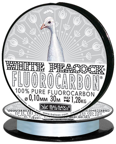 Леска BALSAX White Peacock Fluorocarbon 30м 0,10 (1,28кг)Леска монофильная флюорокарбоновая<br>Леска White Peacock Fluorocarbon - абсолютна невидима <br>в воде, тонет очень быстро, не теряет прочности, <br>высокая сопротивляемость. Выдерживает <br>диапазон температур от -40 до + 60 град.<br><br>Сезон: зима