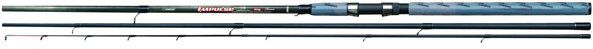 Удилище фидер. SWD Impulse 3,9м карбон IM7 (3сек+3хл, Удилища фидерные и пикерные<br>Мощный 3-х частный штекерный фидер, изготовленный <br>из карбона IM7. Основные характеристики удилища: <br>длина 3,9м (в сложенном состоянии 130см), количество <br>секций - 3, максимальный вес оснастки - до <br>120г. Удилище оснащено кольцами SIC, надежным <br>винтовым катушкодержателем и комбинированной <br>ручкой из EVA и пробки. Комплектуется 3-мя <br>сменными хлыстами - 1 из карбона и 2 из стекловолокна <br>с разными тестами, которые выбирают исходя <br>из массы оснасток. Рекомендуется для ловли <br>на реках со средним и быстрым течением и <br>в водоемах со стоячей водой.<br>
