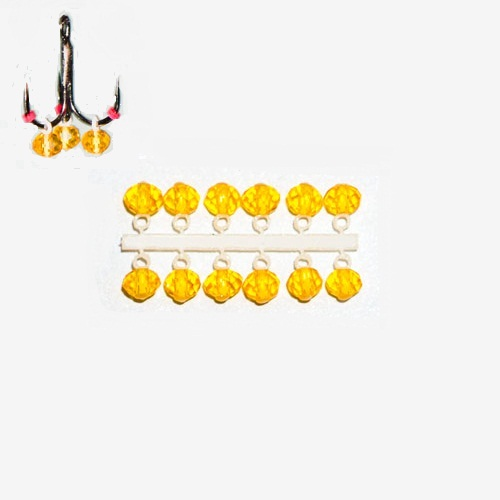 Подвес-Серьга Микро-Бис Крислалл Желт. Подвесы-приманки на крючок<br>Подвес-серьга МИКРО-БИС КРИСЛАЛЛ желт. <br>прозрачн. 4.2мм К 12шт. диам. 4,2мм/матер. Стекло <br>Микро-бис Кристалл 3,8-4,2 мм.,– подвеска маятникового <br>типа в форме ограненного кристалла, предназначена <br>для использования совместно со средними <br>и крупными мормышками, отвесной блесной <br>или балансиром (до 9см). Использование подвески <br>Микро-бис оживляет игру приманки, создавая <br>в ней две и более части, имеющие разное (по <br>частоте и направлению) независимое движение, <br>привлекающее и мирную, и хищную рыбу. При <br>активной игре приманки, подвеска создает <br>шумовой эффект, особенно выраженный при <br>применении двух и более подвесок на одной <br>приманке. Грани кристалла создают эффект <br>бликов. Ассортимент цветов и легкая смена <br>одной подвески на другую, позволят рыболову <br>в процессе ловли подобрать именно ту комбинацию <br>подвесок и приманки, которая на данный момент <br>наиболее эффективна. Способ монтажа: отрезать <br>подвеску от кассеты и надеть на крючок приманки <br>за колечко, закрепив небольшим отрезанным <br>кусочком кембрика (из комплекта).<br><br>Сезон: зима