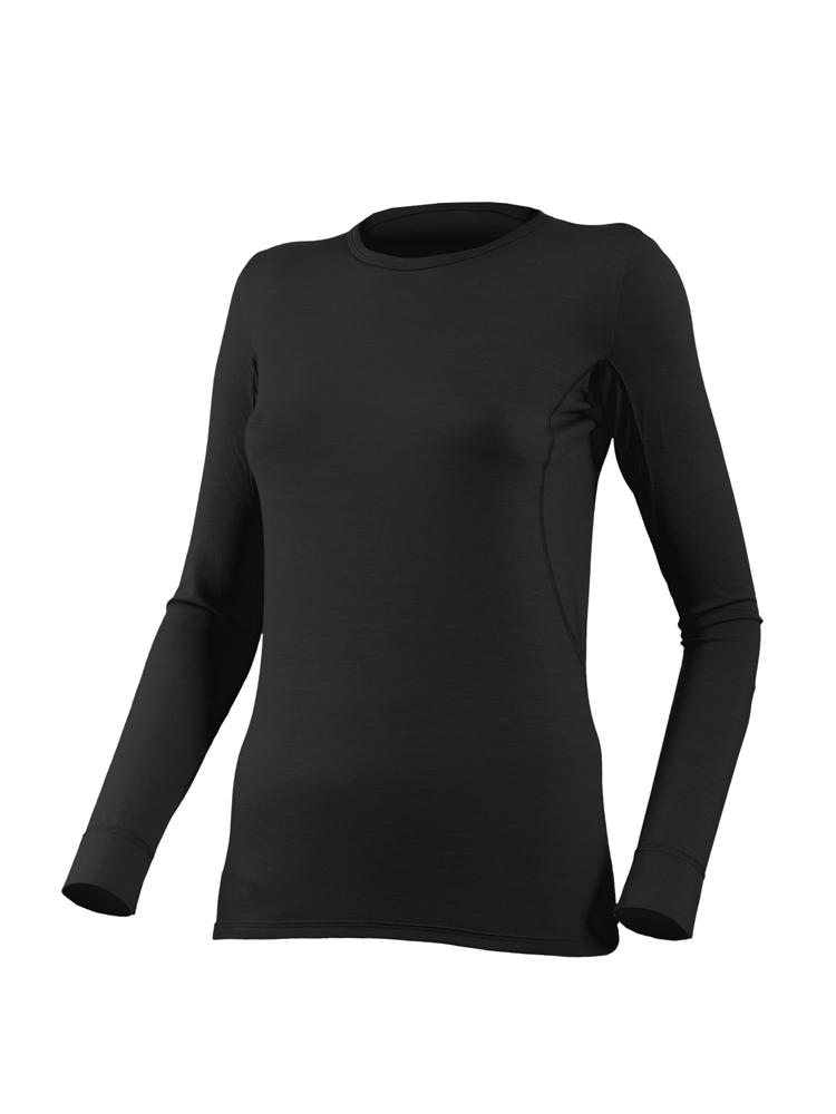 Футболка женская Lasting Lina, черная АвантмаркетФуфайка<br>Описание футболки Lasting Lina: Термофутболка <br>Lina &amp;mdash; удобная женская модель эргономичного <br>кроя. Она пошита из шерстяного трикотажа <br>и имеет длинные рукава, а потому хорошо <br>подходит для использования в холодное время <br>года. Крой термофутболки &amp;mdash; облегающий, <br>с небольшим круглым воротом и широкими <br>манжетами на рукавах. Для трикотажа Light <br>плотностью 160 г/м 2, использована натуральная <br>мериносовая шерсть с волокнами диаметром <br>16 микрон. Это чрезвычайно мягкий и приятный <br>на ощупь материал. Поэтому термофутболка <br>Lina подходит для использования в качестве <br>нижнего слоя одежды. Она годится для ежедневного <br>использования либо в качестве функционального <br>белья во время горных походов, катания на <br>обычных и горных лыжах, треккинга. Швы футболки <br>&amp;mdash; плоские и выполнены по технологии flatlock. <br>Она не стесняет движений, прекрасно отводит <br>от кожи наружу пот, позволяет коже дышать, <br>не затрудняя естественный воздухообмен. <br>Термофутболка Lina прекрасно справляется <br>с функцией терморегуляции и позволяет отлично <br>себя чувствовать во время длительных прогулок <br>на природе. Особенности: женская футболка <br>с длинным рукавом; облегающий покрой; круглая <br>горловина; широкие манжеты на рукавах; все <br>швы &amp;mdash; плоские; натуральный шерстяной <br>трикотаж Merino Wool; свободный воздухообмен; <br>хорошее влагоотведение; эффективная терморегуляция. <br>Применение: Термофутболка на каждый день, <br>для треккинга и горного туризма, занятий <br>зимними видами спорта. Материал: 100% шерсть <br>Merino Wool. Таблица размеров женского термобелья <br>Lasting Размер S M L XL Рост 158 - 162 162 - 166 166 - 170 171 <br>- 175 Обхват груди 84-90 90-96 96-100 100-104 Обхват талии <br>72-76 76-80 80-84 84-88 Обхват бедер 90-94 94-100 100-104 104-109 <br>Длина штанины 105 107 109 111<br><br>Материал: {шерсть, плотность 160 г/м2}