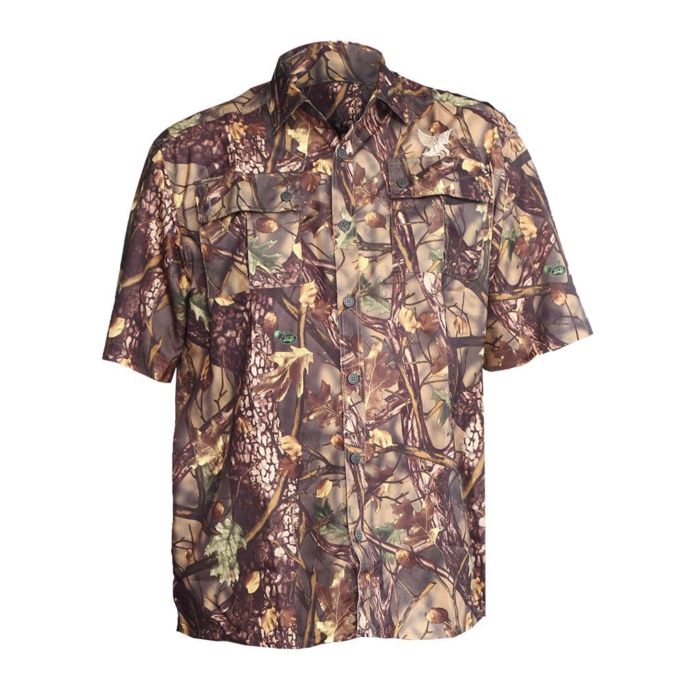 Рубашка ХСН «Бриз» короткий рукав (Осока, Рубашки к/рукав<br>Рубашка мужская подойдет для ношения летом. <br>На рубашке есть накладные карманы. Материал <br>обработан водоотталкивающей пропиткой. <br>Комфортная температура эксплуатации от <br>+20°С до +35°С.<br><br>Пол: мужской<br>Размер: 54/170-176<br>Сезон: лето<br>Цвет: камуфляжный<br>Материал: Смесовая ткань (77% ПЭ, 23% вискоза)