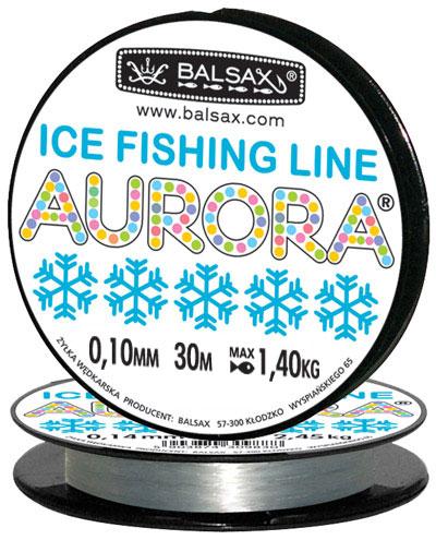 Леска BALSAX Aurora 30м 0,10 (1,4кг)Леска монофильная<br>Леска Aurora - создана специально для зимней <br>ловли. Очень хорошо выдерживает низкую <br>температуру. Поверхность обработана таким <br>образом, что она не обмерзает как стандартные <br>лески. Отлично подходит для подледного <br>лова. А прозрачный цвет гарантирует, что <br>она практически незаметна даже в кристально <br>прозрачной воде. В самом холодном климате, <br>при температуре до -40, она сохраняет свои <br>свойства.<br><br>Сезон: зима