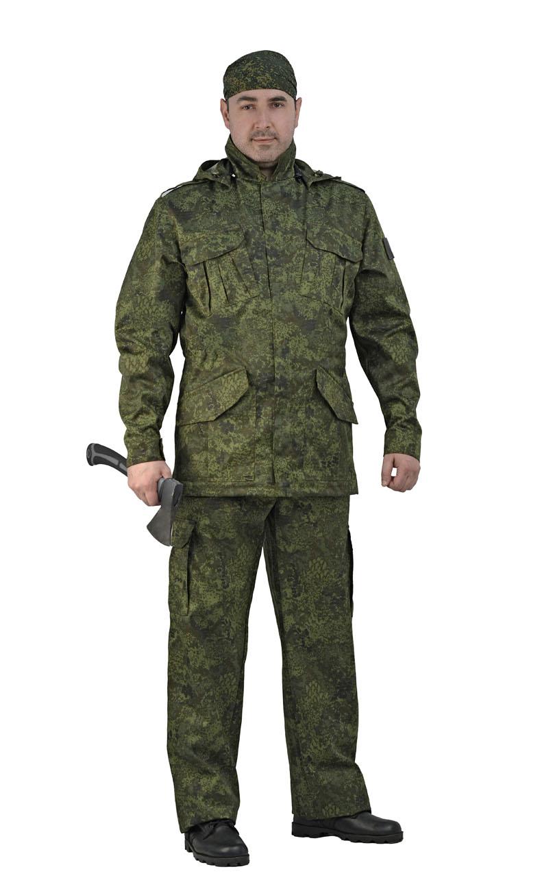 Костюм мужской Захват кмф Ратник (44-46, Костюмы неутепленные<br>Универсальный летний костюм состоит из <br>удлиненной куртки с капюшоном и брюк. Куртка: <br>-съемный регулируемый капюшон. -погоны и <br>манжеты рукавов на кнопках -центральная <br>застежка молния закрывается планкой на <br>липучке. -нижние накладные карманы антивор <br>на липчке -нагрудные накладные полуобъёмные <br>карманы с клапаном на липучке. - регулировка <br>объема кулисой по линии талии и по низу. <br>Брюки: -два врезных кармана и два накладных <br>объемных кармана с клапаном на липучке. <br>-пояс со шлевками под широкий ремень -центральная <br>застежка на молнию -низ брюк регулируется<br><br>Пол: мужской<br>Размер: 44-46<br>Рост: 182-188<br>Сезон: лето<br>Материал: Смесовая, пл. 210 г/м2,