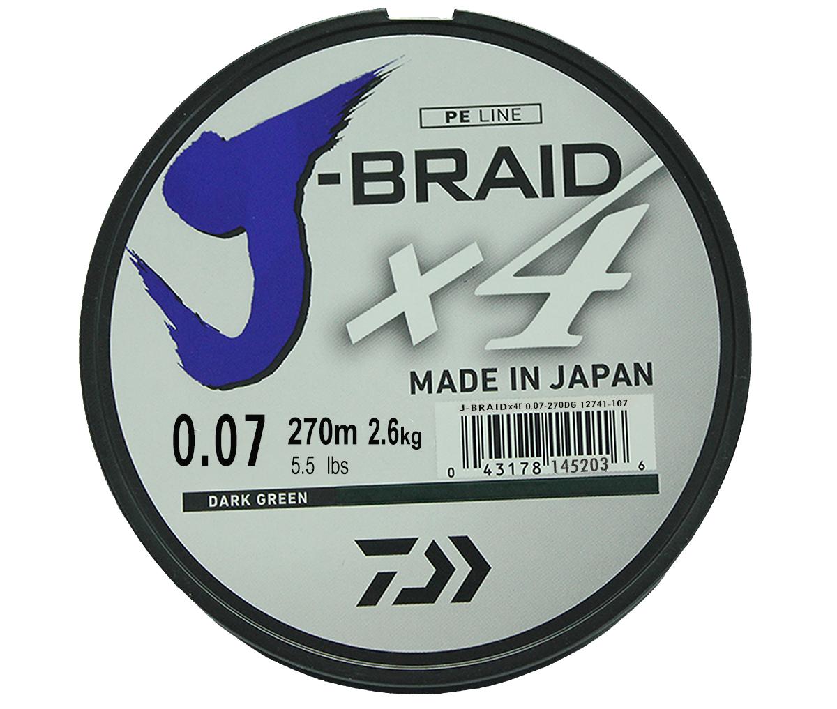 Леска плетеная DAIWA J-Braid X4 0,07мм 270 (зеленая)Леска плетеная<br>Новый 4х жильный шнур J-Braid, DAIWA - шнур высокого <br>класса с удивительным соотношением цены <br>и качества. Качество плетения полностью <br>соответствует японским стандартам и удовлетворяет <br>всем требованиям. Представленные диаметры <br>позволяют использовать шнур для всех техник <br>ловли, начиная от ultra- light ловли окуня, до <br>морской ловли палтуса, трески и т.д.<br>