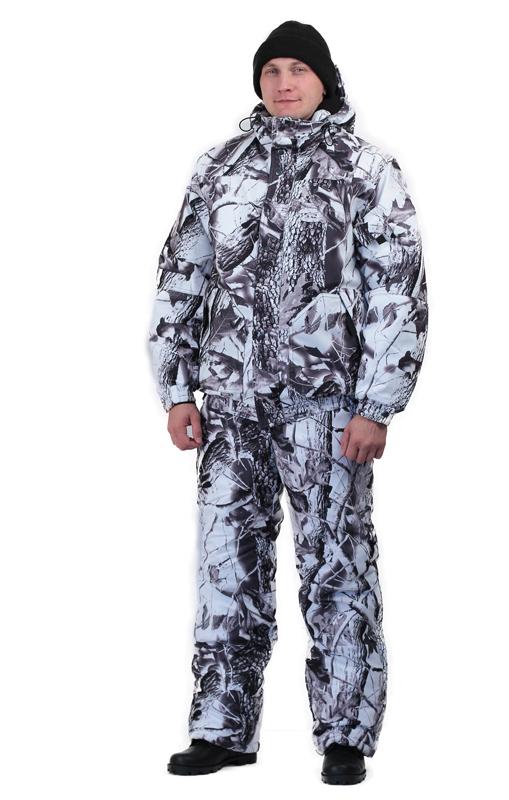 Костюм мужской Вихрь зимний кмф алова Костюмы утепленные<br>Камуфлированный универсальный костюм <br>для охоты, рыбалки и активного отдыха при <br>низких температурах. Состоит из укороченной <br>куртки с капюшоном и полукомбинезона. Куртка: <br>• Регулируемый втачной капюшон - воротник <br>на флисовой подкладке. • Центральная застежка <br>- молния закрыта ветрозащитной планкой <br>на кнопках. • Внутренняя планка, закрывающая <br>верхний край молнии. • Нижние накладные <br>карманы, нагрудный прорезной карман на <br>молнии. • На рукаве накладной, объемный <br>карман под мобильный телефон. • Низ куртки <br>и манжеты на широкой резинке. Полукомбинезон: <br>• С центральной застежкой на молнию и ветрозащитной <br>планкой. • Высокая грудка и спинка. • Два <br>передних , один задний накладных кармана <br>и один на груди с клапаном на кнопках. • <br>Мягкие регулируемые бретели с эластичной <br>лентой. • Низ полукомбинезона регулируется <br>молнией.<br><br>Пол: мужской<br>Размер: 44-46<br>Рост: 182-188<br>Сезон: зима<br>Цвет: серый<br>Материал: Алова 100% полиэстер
