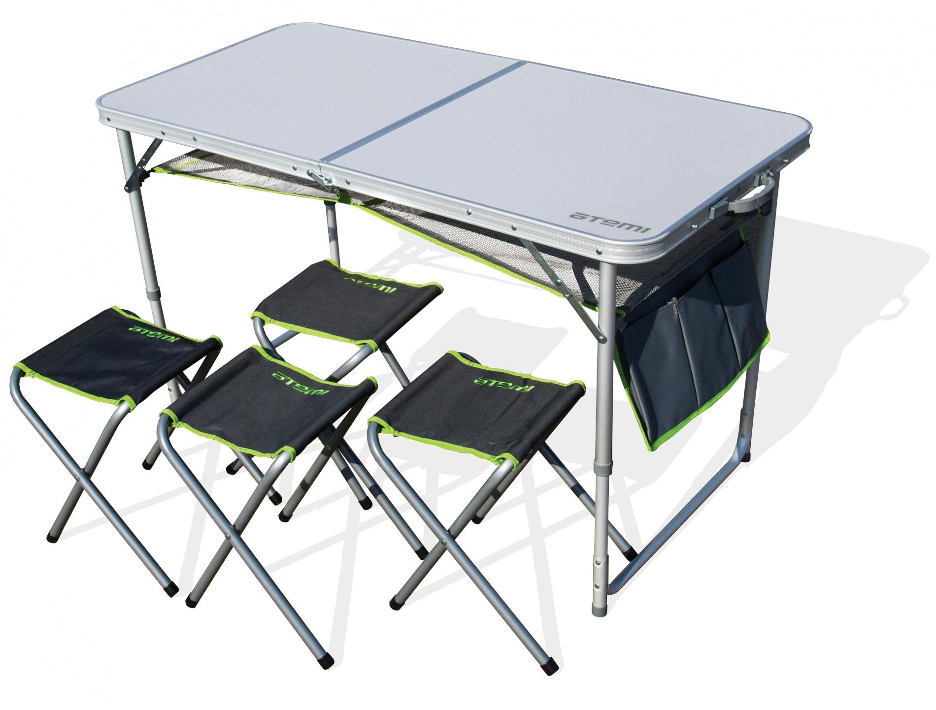 Набор мебели, стол туристический и 4 стула Набор мебели<br>Легко складывающийся алюминиевый стол <br>и четыре складных стула Материал конструкции <br>стола: алюминий Ф 25 мм; Материал стула: сталь <br>+ полиэстр Столешница: МДФ; Размер стола: <br>120x60x70 см; Размер стула: 29 x 25 x 35 см. Допустимая <br>нагрузка: 30кг Допустимая нагрузка на стулья: <br>90 кг. Вес: 10 кг Объем упаковки: 0,034 м3<br>