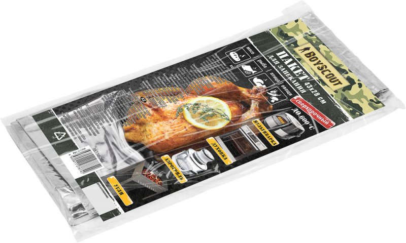 Пакет для запекания BOYSCOUT 43х28см., алюм. фольгаПакеты для копчения, запекания<br>Сверхпрочный пакет для запекания Boyscout <br>выполнен из алюминиевой фольги и выдерживает <br>до +600°C. Предназначен для запекания мяса, <br>рыбы, птицы, овощей. Для образования хрустящей <br>корочки на продукте раскройте пакет за <br>несколько минут до окончания приготовления. <br>Пакет предназначен для однократного применения. <br>Можно использовать в мультиварке, духовке, <br>в аэрогриле, на углях. Не использовать в <br>микроволновой печи. Материал: алюминиевая <br>фольга. Размер: 43 см х 28 см.<br>