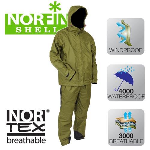 Костюм Демисезонный Norfin ShellКостюмы утепленные<br>Костюм демисезонный Norfin SHELL, материал Nortex <br>Breathable/темп. 5-15град. Костюм всесезонный NORFIN <br>SHELL, изготовлен из прочного материала Nortex <br>Breathable, что обеспечивает комфортную рыбалку <br>в дождливую погоду. Водостойкость материала <br>обеспечивает защиту от небольшого дождя <br>продолжительностью до 3-х часов. Костюм <br>наиболее функционален при статичной ловле <br>рыбы, когда нет постоянного активного ее <br>поиска, при температуре воздуха от 5 до +15°С. <br>-капюшон с двух-уровневой регулировкой; <br>-сетчатая внутреняя подкладка; -регулируемые <br>манжеты; -регулируемые съёмные помочи; -два <br>кармана на штанах; -низ штанов на молнии; <br>-высокий воротник куртки; -два боковых кармана <br>куртки; -фиксатор, стягивающий низ куртки; <br>-эластичный пояс штанов; -вставки прочного <br>материала на задней части и внизу штанин.<br><br>Пол: мужской<br>Размер: S<br>Сезон: лето<br>Материал: мембрана