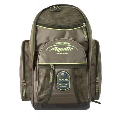Рюкзак Aquatic рыболовный 32 литраРюкзаки<br>Небольшой технологичный, непромокаемый <br>рюкзак Aquatic объёмом около 32 литров. Изготавливается <br>из нейлоновых тканей, имеет три изолированных <br>кармана. Рюкзак имеет подвеску с грудной <br>регулировкой, дополнительный боковой карман <br>и уплотненную спинку. Современный дизайн <br>позволяет использовать его как городской <br>рюкзак.<br>