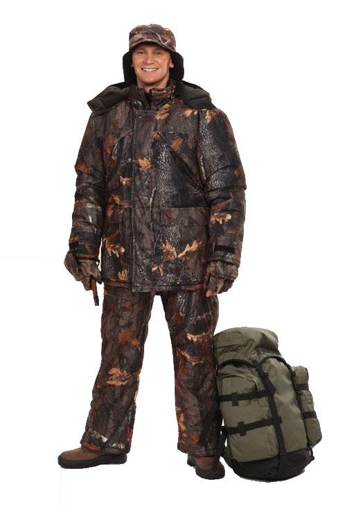 Костюм мужской Охотник зимний кмф алова Костюмы утепленные<br>Камуфлированный универсальный костюм <br>для охоты, рыбалки и активного отдыха при <br>низких температурах. Не шуршит. Состоит <br>из удлинненной куртки с капюшоном и полукомбинезона. <br>Куртка: • Отстегивающийся и регулируемый <br>капюшон. • Центральная застежка на молнии <br>с ветрозащитной планкой на контактной ленте. <br>• Боковые и нагрудные накладные карманы <br>с клапанами на контактной ленте. • Ветрозащитная <br>юбка на резинке по л. талии • Регуляторы <br>манжет рукавов на контактной ленте • Подкладочная <br>ткань на спинке, воротнике и капюшоне - флис <br>Полукомбинезон: • Закрывает грудь и спину. <br>• Застежка центральная на молнии. • Боковые <br>и нагрудный карманы. • Бретели регулируемые <br>с эластичной лентой. • Талия регулируется <br>эластичной лентой • Задняя часть на молнии <br>и контактной ленте, полностью отстегивающаяся <br>.<br><br>Пол: мужской<br>Размер: 60-62<br>Рост: 182-188<br>Сезон: зима<br>Цвет: коричневый дуб (фотокамуфляж)<br>Материал: Алова 100% полиэстер