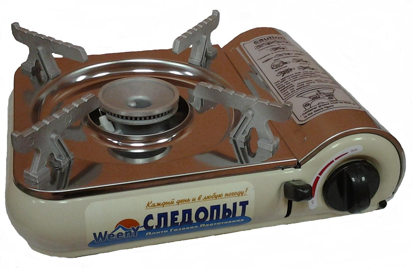 Плита газовая СЛЕДОПЫТ- WeenY, наст. (с подогревом) Плиты<br>Самая маленькая по габаритным размерам <br>настольная газовая плита «Следопыт-WeenY» <br>ХАРАКТЕРИСТИКИ: Мощность горелки:2,5 кВт. <br>Тип горелки: закрытая, с кольцевым пламенем <br>Вес плиты с кейсом: 1,2 кг. Габаритные размеры <br>плиты:250 х 190 х 70 мм. Расход газа:155 гр./час. <br>Пьезоэлектрический розжиг: есть Тип используемых <br>баллонов: - нажимной, с цанговым захватом<br>