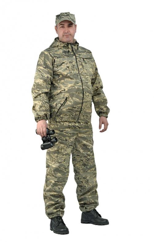 Костюм мужской Турист 1 летний, кмф тк. Костюмы неутепленные<br>Камуфлированный унверсальный летний костюм <br>для охоты, рыбалки и активного отдыха . Состоит <br>из куртки с капюшоном и брюк. Куртка: • Регулируемый <br>капюшон. • Центральная застежка молния. <br>• Боковые и нагрудный прорезные карманы <br>на молнии. • Низ куртки и манжеты на резинке. <br>Брюки: • Два врезных кармана и два накладных <br>на молнии. • Пояс и низ брюк на резинке.<br><br>Пол: мужской<br>Размер: 48-50<br>Рост: 170-176<br>Сезон: лето