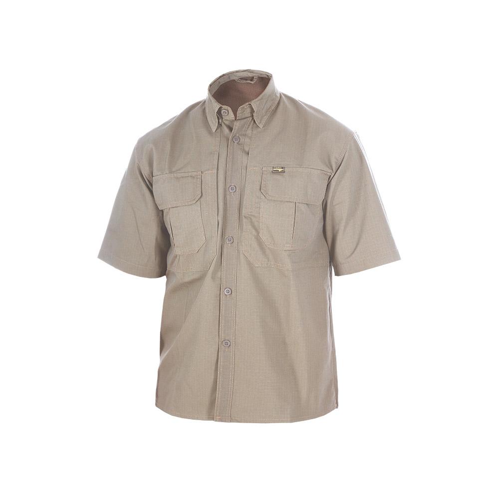 Рубашка ХСН «Тактика» короткий рукав (Хаки, Рубашки к/рукав<br>Рубашка мужская подойдет для ношения летом. <br>Изготовлена из натурального материала. <br>На рубашке нашиты накладные карманы. Материал <br>обработан водоотталкивающей пропиткой.<br><br>Пол: мужской<br>Размер: 46/170-176<br>Сезон: лето<br>Материал: 100% хлопок