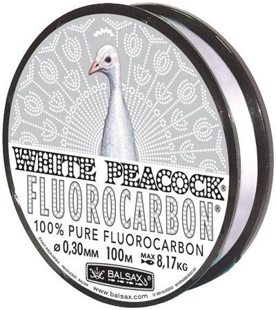 Леска BALSAX White Peacock Fluorocarbon 100м 0,30 (8,17кг)Леска монофильная флюорокарбоновая<br>Леска White Peacock Fluorocarbon - абсолютна невидима <br>в воде, тонет очень быстро, не теряет прочности, <br>высокая сопротивляемость.<br><br>Сезон: лето