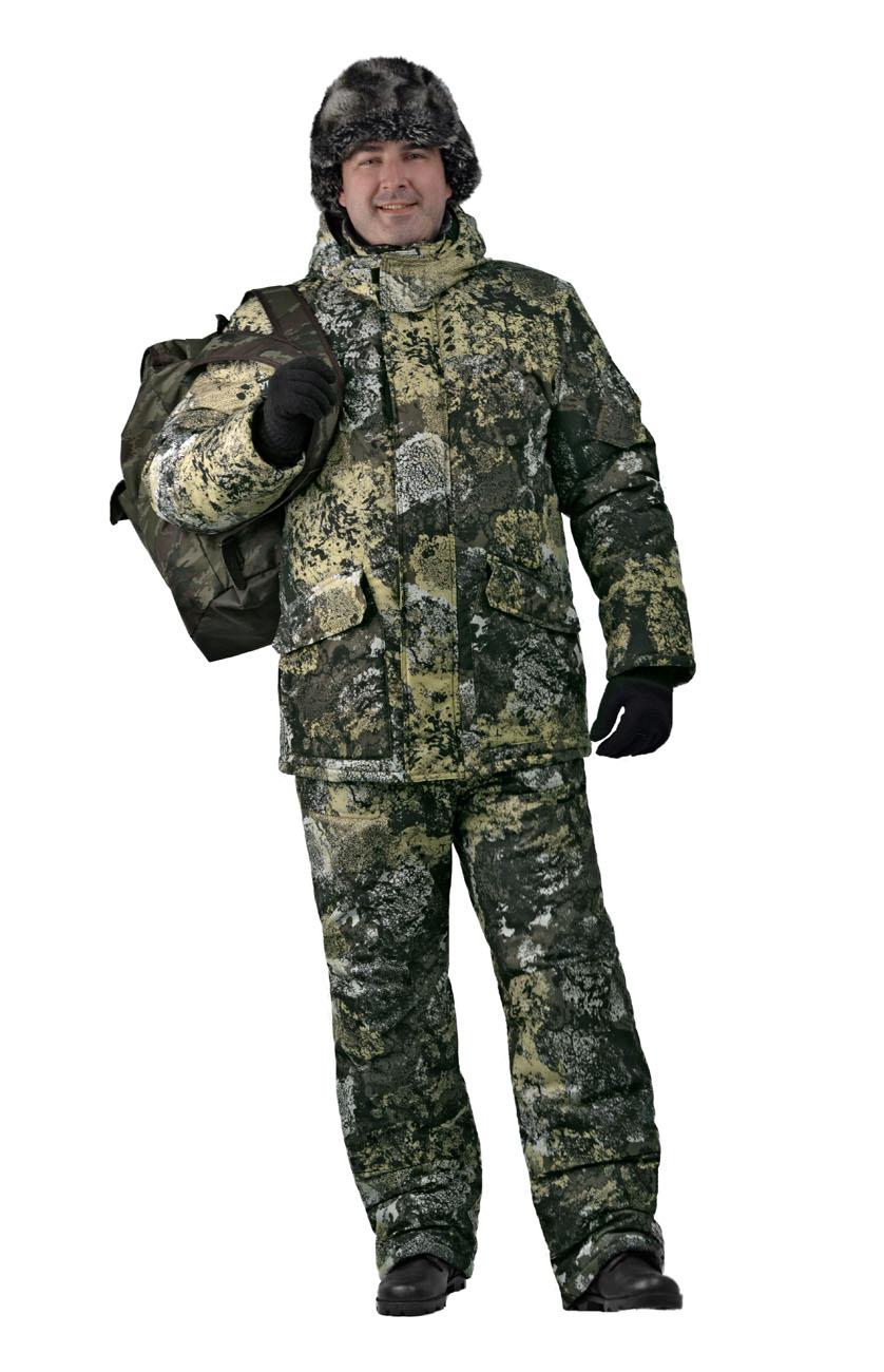 Костюм мужской Nordwig Buran зимний кмф т.Алова Костюмы утепленные<br>Камуфлированный универсальный костюм <br>для охоты, рыбалки и активного отдыха при <br>низких температурах. Не шуршит. Состоит <br>из удлинненной куртки с капюшоном и полукомбинезона. <br>• Отстегивающийся и регулируемый капюшон. <br>• Центральная застежка молния с ветрозащитной <br>планкой и контактной лентой. • Боковые <br>и нагрудные накладные карманы с клапанами. <br>• Усиление в области локтей. • Костюм оснащён <br>объёмными карманами «антивор» • Фиксированная <br>регулировка по локтевым частям рукава •Подкладка: <br>стойки воротника, капюшона, полочки , спинки, <br>подкладка нижний карманов флис 180 г/м2 • <br>Подкладка рукава: ткань подкладочная пл.190 <br>г/м2 • Внутренние трикотажные манжеты- напульсники <br>Полукомбинезон: • Закрывает грудь и спину. <br>• Застежка с двухзамковой молнией. • Боковые <br>карманы. • Бретели регулируемые. • Талия <br>регулируется резинкой • Наколенники с <br>отверстиями для амортизационных накладок. <br>• Подкладка: ткань подкладочная пл.190 г/м2 <br>Синтепон 100г/м2 - 4 слой в куртке, 3 слой в полукомбинезоне.<br><br>Пол: мужской<br>Размер: 52-54<br>Рост: 170-176<br>Сезон: зима<br>Цвет: зеленый<br>Материал: Алова 100% полиэстер