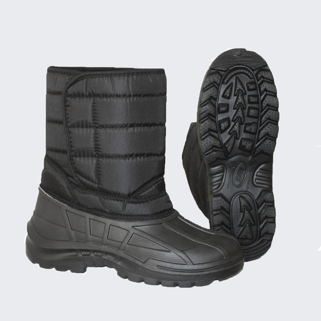 Сапоги комбинированные Классика САП220А Болотные сапоги<br>Обувь EVA для мужчин обеспечивает ногам <br>тепло, сухость и комфорт, отличается повышенной <br>прочностью и отлично выглядит. Помимо водонепроницаемости <br>и эффективной защиты от холода, модели этой <br>серии имеют небольшой вес и отличаются <br>разнообразием вариантов исполнения, а значит, <br>подходят ко всем случаям жизни. При температуре <br>использования до -30°С при активном использовании <br>сапоги EVA обеспечивают высокий уровень <br>тепла и комфорта, характерный для всей обуви <br>компании EVA - SHOES. Обувь EVA предназначена <br>для сырой холодной погоды и может использоваться <br>как в зимнее время, так и в весенне - осенний <br>период. ?Утепленные сапоги с застежкой-липучкой <br>на голенище ?Широкое голенище из водоотталкивающей <br>ткани Оксфорд ?Утолщенная подошва с протекторами<br><br>Пол: мужской<br>Сезон: зима<br>Цвет: черный<br>Материал: полимеры