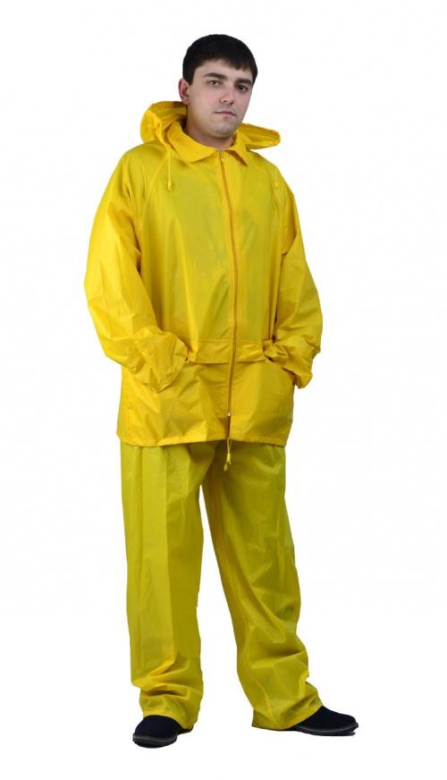 Костюм Рыбак нейлоновый желтый (L)Костюмы неутепленные<br>Куртка и брюки. На воротнике карман на молнии <br>для капюшона. Швы проклеены изнутри.<br><br>Пол: мужской<br>Размер: L<br>Сезон: демисезонный<br>Цвет: желтый<br>Материал: текстиль