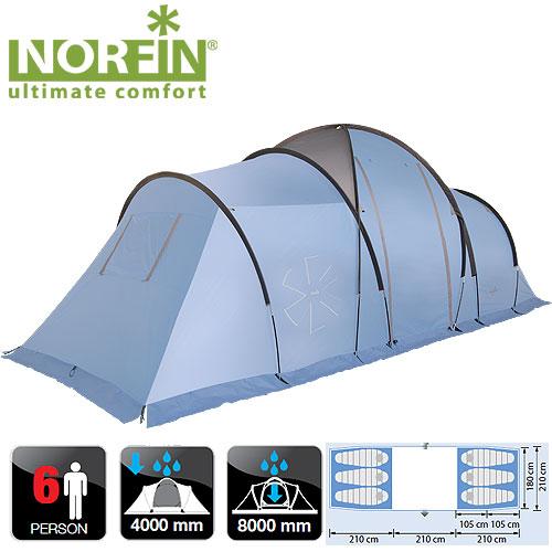 Палатка Кемпинговая 6-Ти Местная Norfin Moss Палатки<br>Кемпинговая палатка с двумя спальнями <br>и холлом идеально подойдет для отдыха семьи <br>с детьми. Все швы палатки герметизированы <br>при помощи термоусадочной водонепроницаемой <br>ленты. Особенности: - двухслойный материал; <br>- два входа; - вход защищен антимоскитной <br>сеткой; - наличие ветрозащитной юбки; - съемный <br>пол в тамбуре; - вентиляционные окна; - крючок <br>для подвески фонаря; - веревки оттяжек со <br>светоотражающей нитью; - специальный чехол-стяжка <br>для фиксации каждой сложенной веревки оттяжки; <br>- петли для фиксации скатанного входа; - <br>наличие функциональных кармашков; - площадь <br>крепления нижних оттяжек усилена дополнительной <br>вставкой; - возможность установки навеса <br>над входом. Характеристики: - размер наружной <br>палатки (210+210+210)x210x200/150 см; - размер внутренней <br>палатки (205х180х150)х2 см; - размер в сложенном <br>виде 68х28х25 см; - материал внутренней палатки <br>190T breathable polyester; - материал дна/ влагостойкость <br>(мм H2O) PE 120g/m2 / 8000; - материал каркаса FG; - количество <br>дуг(стоек)/диаметр (мм) 2/12,7 мм, 4/11 мм, steel 2/16 <br>мм. - материал колышек сталь.<br><br>Сезон: лето<br>Цвет: синий