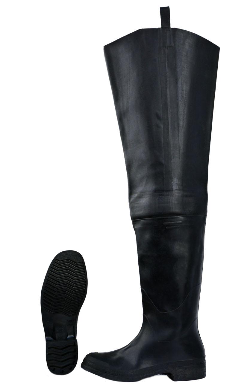 Сапоги резиновые рыбацкие черные (Неизвестная Болотные сапоги<br>Обувь предназначена для защиты от воды <br>и загрязнений - обувь формованная с высоким <br>голенищем, на голенище – люверсы для крепления <br>к поясу - высота сапога 80 см.<br><br>Пол: мужской<br>Сезон: лето<br>Цвет: черный<br>Материал: резина