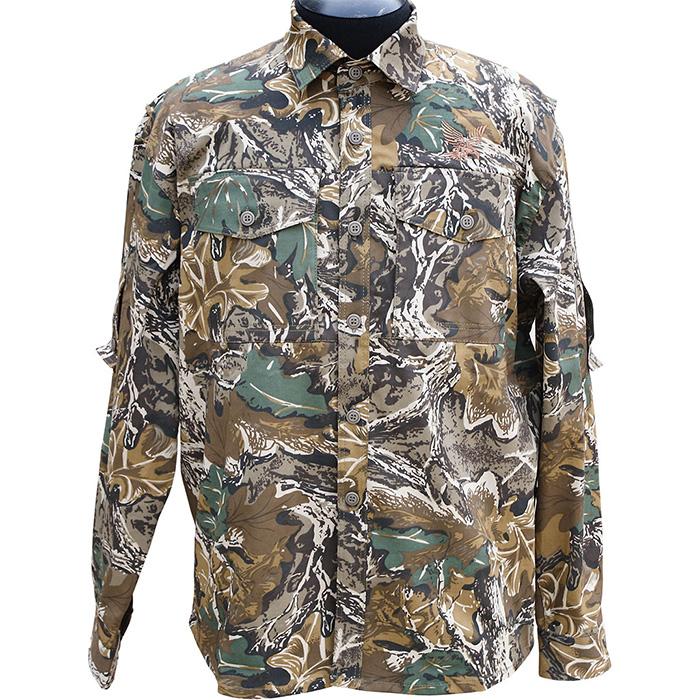 Рубашка ХСН рыбака-охотника Фазан длинный Рубашки д/рукав<br>Подойдет для теплой летней погоды. На рубашке <br>есть накладные карманы. Для защиты от влаги <br>материал обработан водоотталкивающей пропиткой. <br>Комфортная температура эксплуатации от <br>+20°С до +30°С.<br><br>Пол: мужской<br>Размер: 46/182-188<br>Сезон: лето<br>Цвет: камуфляжный<br>Материал: 95% хлопок, 5% спандекс