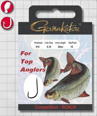 Крючок GAMAKATSU BKS-1010R Roach 22см Comp №18 d поводка Одноподдевные<br>Оснащенный поводок для ловли плотвы в условиях <br>соревнований, длинной 22 см и диаметром сечения <br>0,08<br>