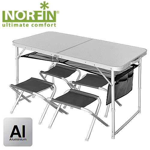 Стол Складной Norfin Runn Nf Алюминиевый 120X60 Набор мебели<br>Набор мебели из складного стола и четырех <br>стульев идеально подойдет для отдыха на <br>природе. Стулья складываются и убираются <br>вовнутрь стола, который в собранном виде <br>имеет форму чемодана. Особенности: - габариты <br>120x60x70 см; - размер в сложенном виде 60x60x8 см; <br>- максимальная нагрузка для стола 30 кг, для <br>стульев 90 кг; - каркас алюминий 25х22 мм, 600D <br>polyester<br><br>Сезон: лето<br>Материал: МДФ