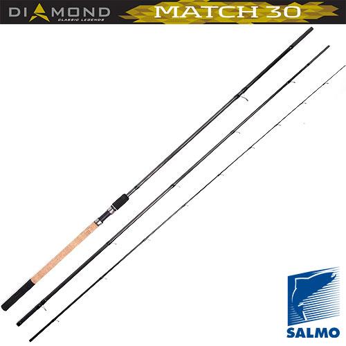 Удилище Матчевое Salmo Diamond Match 30 4.21Удилища матчевые<br>Удилище матч. Salmo Diamond MATCH 30 4.21 дл.4.20м/тест <br>5-30г/290г Классическое трехколенное удилище <br>для матчевой ловли со стыком колен по типу <br>OVER STEEK. Бланк среднего строя, изготовлен <br>из графита марки IM7 и укомплектован высокими <br>пропускными кольцами со вставками SIC. Комбинированная <br>рукоятка из пробки и неопрена имеет винтовой <br>катушкодержатель с нижней гайкой крепления <br>и резиновым буфером на торце. Материал бланка <br>удилища – углеволокно (IM7) Строй бланка <br>средний Конструкция штекерная Соединение <br>колен типа OVER STEEK Кольца пропускные: - на <br>высоких ножках - со вставками SIC Рукоятка <br>комбинированная Катушкодержатель винтового <br>типа<br><br>Сезон: лето