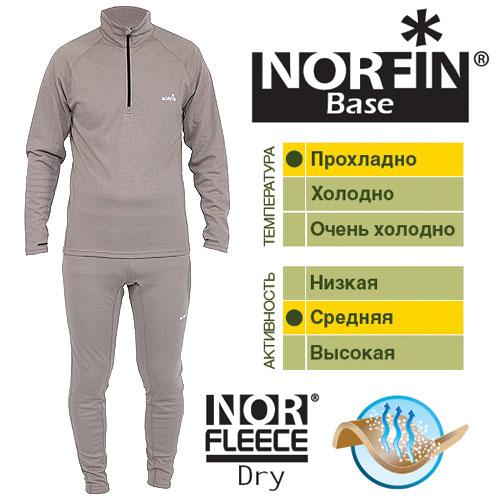 Термобелье Norfin Base (XL, 3029004-XL)Комплекты термобелья<br>Термобелье Norfin BASE футболка с длинным рукавом <br>и кальсоны/мат.полиэстер/темп. прохладно/активн. <br>сред./цв.сер Термобелье изготовлено из материала, <br>который очень хорошо выводит влагу тела <br>наружу. Внутренний слой более эластичный-чем <br>верхний, лучше прилегает к телу и моментально <br>впитывает влагу, которая через внешний <br>слой, сразу выводится наружу. Согласно послойной <br>концепции Norfin является термобельем базового <br>слоя. ФУТБОЛКА С ДЛИННЫМ РУКАВОМ: Высокий <br>воротник. Передняя застежка-молния. Облегающий <br>крой. КАЛЬСОНЫ: Эластичный пояс. Облегающий <br>крой. Материал: NORfleece Dry (100% полиэстер ). хорошо <br>отводит влагу. двухслойная структура ткани. <br>комфортная при контакте с кожей. быстро <br>сохнет.<br><br>Пол: мужской<br>Размер: XL<br>Сезон: демисезонный<br>Цвет: серый