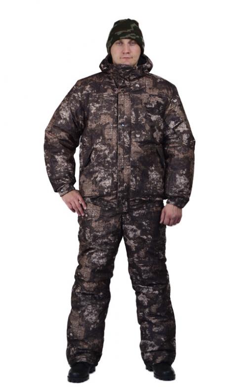 Костюм мужской Вихрь зимний кмф алова Костюмы утепленные<br>Камуфлированный универсальный костюм <br>для охоты, рыбалки и активного отдыха при <br>низких температурах. Состоит из укороченной <br>куртки с капюшоном и полукомбинезона. Куртка: <br>• Регулируемый втачной капюшон - воротник <br>на флисовой подкладке. • Центральная застежка <br>- молния закрыта ветрозащитной планкой <br>на кнопках. • Внутренняя планка, закрывающая <br>верхний край молнии. • Нижние накладные <br>карманы, нагрудный прорезной карман на <br>молнии. • На рукаве накладной, объемный <br>карман под мобильный телефон. • Низ куртки <br>и манжеты на широкой резинке. Полукомбинезон: <br>• С центральной застежкой на молнию и ветрозащитной <br>планкой. • Высокая грудка и спинка. • Два <br>передних , один задний накладных кармана <br>и один на груди с клапаном на кнопках. • <br>Мягкие регулируемые бретели с эластичной <br>лентой. • Низ полукомбинезона регулируется <br>молнией.<br><br>Пол: мужской<br>Размер: 44-46<br>Рост: 170-176<br>Сезон: зима<br>Цвет: серый<br>Материал: Алова 100% полиэстер