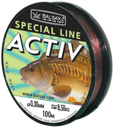 Леска BALSAX Aktiv Карп 100м 0,30 (8,5кг)Леска монофильная<br>Леска Aktiv Карп - имеет маскирующий цвет, <br>не препятствует заглатыванию рыбой приманки, <br>при этом очень прочная и крепкая.<br><br>Сезон: лето