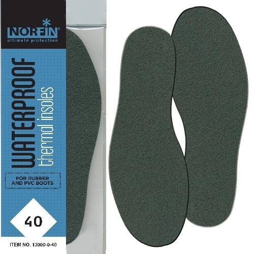 Стельки Термо Norfin Waterproof (40, 13000-0-40)Стельки<br>Стельки термо Norfin WATERPROOF, термо./непромокаем./всесезон. <br>Эффективные термосберегающие и непромокаемые <br>стельки удобны, практичны и экономичны. <br>Они предназначены для повседневного ношения <br>в резиновой обуви, сапогах, полукомбинезонах.<br><br>Пол: унисекс<br>Размер: 40<br>Сезон: зима