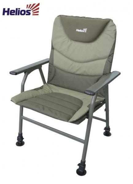 Кресло карповое (HS-BD620-084203) HeliosКресла, стулья, зонты<br>Кресла складные для карповой ловли Helios <br>имеют надежную конструкцию и современный <br>дизайн. Регулирующиеся по высоте ножки <br>позволяют установить кресло на неровной <br>поверхности. Удобная спинка поддерживает <br>поясницу. Данные кресла отлично подойдут <br>как для коротких рыбалок, так и для длительных <br>сессий. Кресло HS-620-084203 предназначено для <br>любителей ловли на фидер и удочку. Регулируемые <br>ножки позволяют установить кресло на любой <br>неровной поверхности. Мягкая спинка и широкое <br>сиденье обеспечат максимальный комфорт <br>на длительной рыбалке. Неопреновый подголовник. <br>Каркас выполнен из толстостенного алюминия <br>(диаметр трубы 22 и 25 мм), что придает креслу <br>дополнительную надежность. Размеры: 62х62х91 <br>см. Каркас: алюминиевая труба (22, 25 мм). Ткань: <br>полиэстер 600D. Допустимая нагрузка: 130 кг. <br>Размеры: 39х50х41/102 см. Каркас: стальная труба <br>(18, 22 мм). Ткань: полиэстер 600D. Допустимая <br>нагрузка: 130 кг.<br>