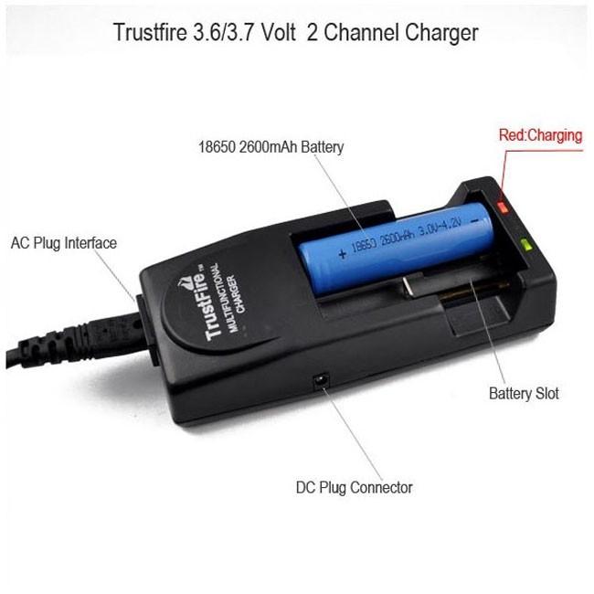Зарядное устройство 2x18650, 16340 TrustFire TR-001 зарядное для литиевых аккумуляторов купить