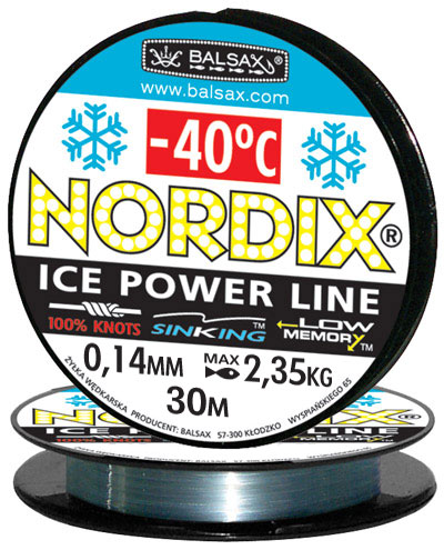 Леска BALSAX Nordix 30м 0,14 (2,35кг)Леска монофильная<br>Леска Nordix - создана специально для зимней <br>ловли. Очень хорошо выдерживает низкую <br>температуру. Поверхность обработана таким <br>образом, что она не обмерзает как стандартные <br>лески. Отлично подходит для подледного <br>лова. Даже в самом холодном климате, при <br>температуре до -40, она сохраняет свои свойства.<br><br>Сезон: зима