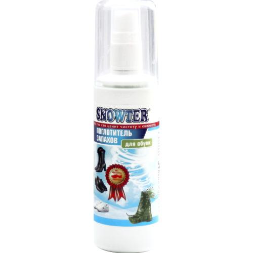 SNOWTER Поглотитель запахов для обуви спрей Средства для ухода за обувью<br>Предназначен для обработки обуви от неприятных <br>запахов. Спрей содержит в своей основе вещество, <br>молекулы которого разрушают ароматические <br>молекулы запаха. Это очень эффективное <br>средство, которое, в отличие от ароматизаторов <br>воздуха, не маскирует неприятный запах, <br>а уничтожает сам источник неприятного запаха. <br>Особенно это актуально для спортивной и <br>зимней обуви. В состав спрея введены дополнительные <br>ароматические, антибактериальные и антисептические <br>компоненты.<br>